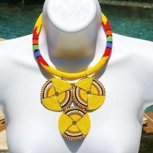 Handmade Boho Necklace Tribal Seed Bead Yellow